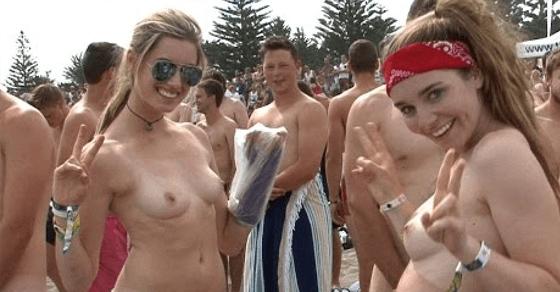 【圧巻映像】745人の男女が一斉に全裸でビーチに!!ギネス記録更新!!2