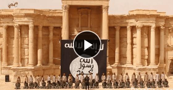 【ISIS最新映像】ローマ劇場で観客集めて公開処刑『10代の少年達』によって射殺された25名のシリア兵士!